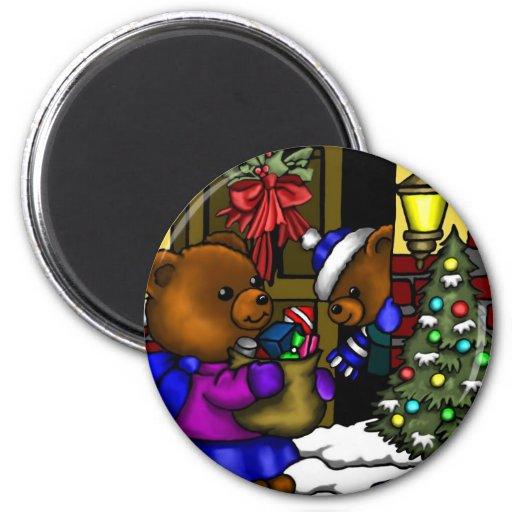 Navidad del peluche de Fitztown Imán Redondo 5 Cm