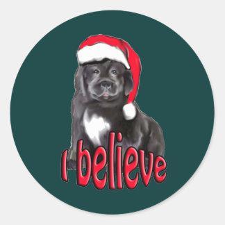 Navidad del perrito de Newf Pegatina Redonda