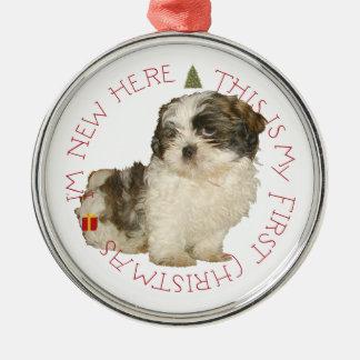 Navidad del perrito de Shih Tzu primer Adorno Navideño Redondo De Metal