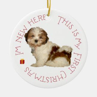 Navidad del perrito de Shih Tzu primer Adorno