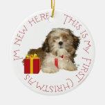 Navidad del perrito de Shih Tzu primer Ornamentos De Reyes