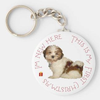 Navidad del perrito de Shih Tzu primer Llavero Redondo Tipo Pin
