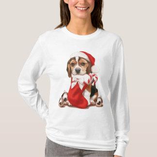 Navidad del perrito del beagle playera