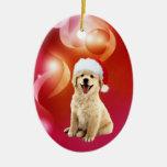 Navidad del perrito del golden retriever ornamentos para reyes magos