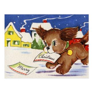 Navidad del perrito del vintage postal