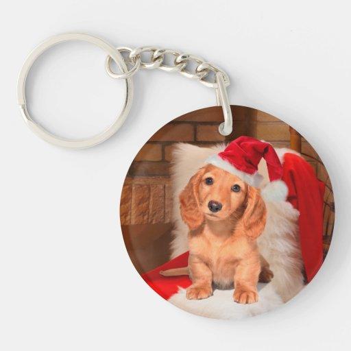 Navidad del perrito llavero redondo acrílico a una cara