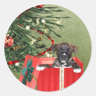 Navidad del perrito etiquetas redondas