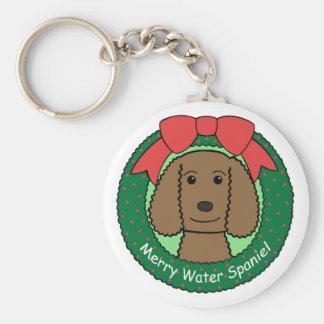 Navidad del perro de aguas de agua americana llavero redondo tipo pin