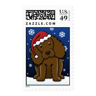 Navidad del perro de aguas de Kawaii Boykin Sellos