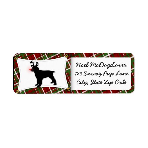 Navidad del perro de aguas de saltador inglés etiquetas de remite