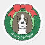 Navidad del perro de aguas de saltador inglés etiqueta