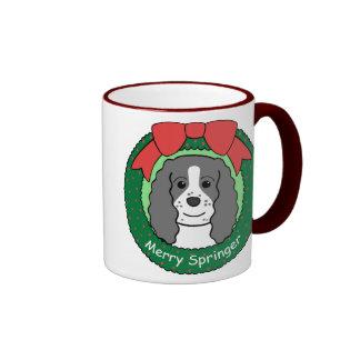 Navidad del perro de aguas de saltador inglés tazas de café