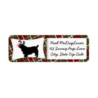 Navidad del perro de aguas de Sussex Etiqueta De Remite