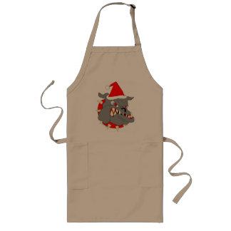 Navidad del perro de diablo del USMC Delantal Largo