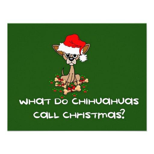 Navidad del perro de la chihuahua comunicados personalizados
