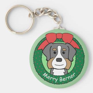 Navidad del perro de montaña de Bernese Llavero Redondo Tipo Pin