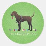 Navidad del perro de Plott Pegatina Redonda
