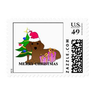 Navidad del perro del Dachshund Estampilla