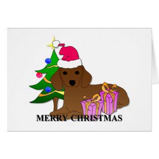Navidad del perro del Dachshund Tarjeton