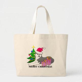 Navidad del perro del husky siberiano bolsa tela grande