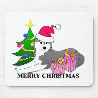 Navidad del perro del husky siberiano mousepads