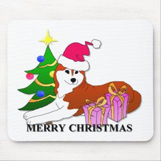 Navidad del perro del husky siberiano tapete de raton