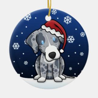 Navidad del perro del leopardo de Catahoula del di Ornamentos De Reyes