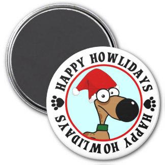 Navidad del perro: Howlidays feliz Imán Redondo 7 Cm