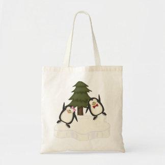 Navidad del pingüino bolsa tela barata