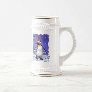 Navidad del pingüino jarra de cerveza