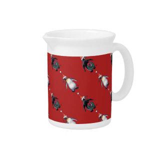 Navidad del pingüino jarra para bebida