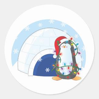 Navidad del pingüino etiquetas redondas