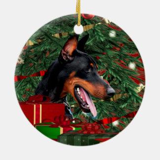 Navidad del Pinscher del Doberman Adorno Navideño Redondo De Cerámica