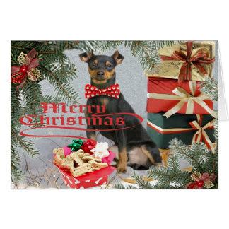 Navidad del Pinscher miniatura a sus tarjetas de l
