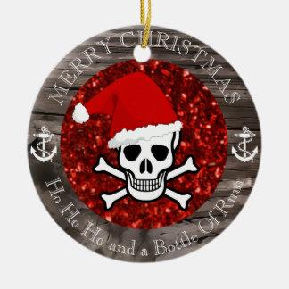 Navidad del pirata adorno navideño redondo de cerámica