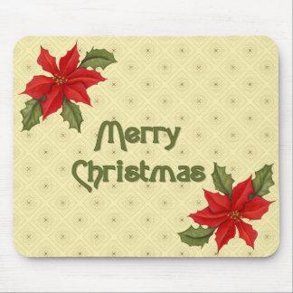 Navidad del Poinsettia Tapetes De Ratones
