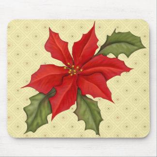 Navidad del Poinsettia Alfombrilla De Ratón