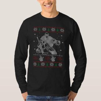 Navidad del portero del hockey playera