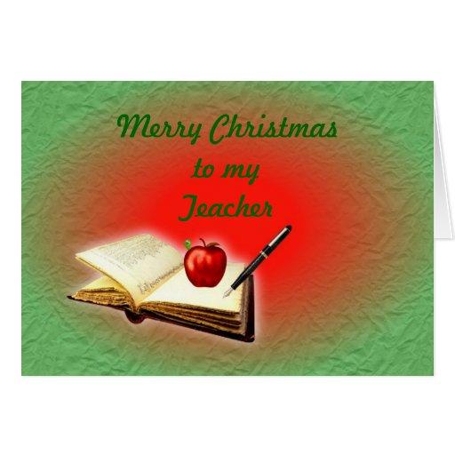 Navidad del profesor de las Felices Navidad con el Tarjetón