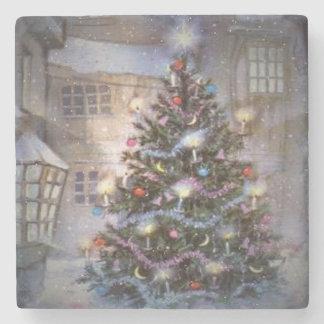Navidad del pueblo posavasos de piedra