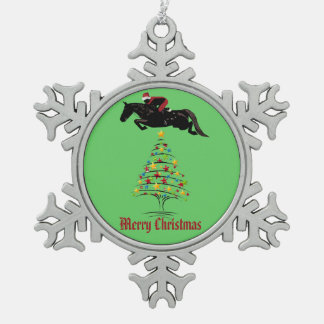 Navidad del puente del caballo adorno de peltre en forma de copo de nieve