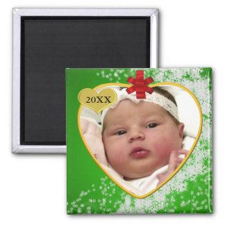 Navidad del recuerdo de la foto del bebé iman para frigorífico