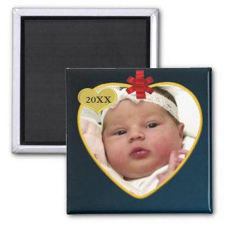 Navidad del recuerdo de la foto del bebé imán de frigorifico