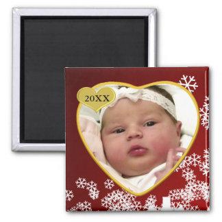 Navidad del recuerdo de la foto del bebé imán para frigorífico