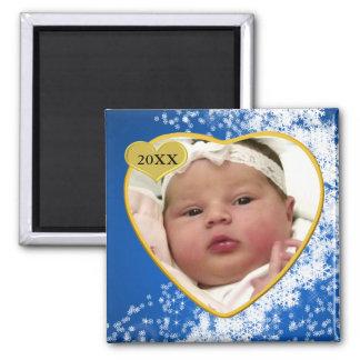Navidad del recuerdo de la foto del bebé imán de frigorífico
