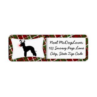 Navidad del reno de Bedlington Terrier Etiqueta De Remite