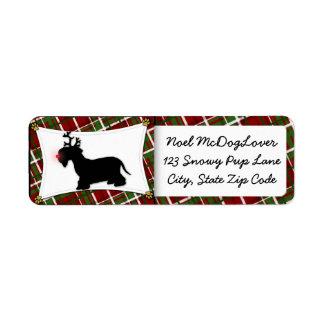 Navidad del reno de Cesky Terrier Etiqueta De Remite