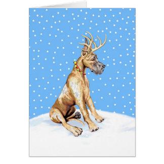 Navidad del reno de great dane Brindle Felicitaciones
