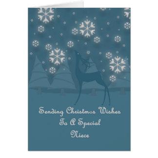 Navidad del reno de la sobrina tarjeta de felicitación
