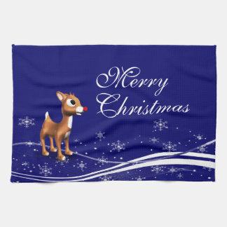Navidad del reno del dibujo animado toallas de mano